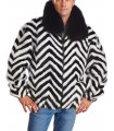 Zebra V-cut Mink Fur Bomber Jacket for Men