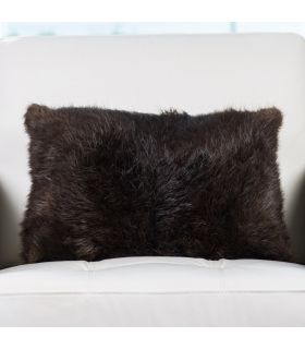 12x18 Goat fur Pillow  Soft  Upcycled Real Fur  Black  Insert Included  Handmade in Usa