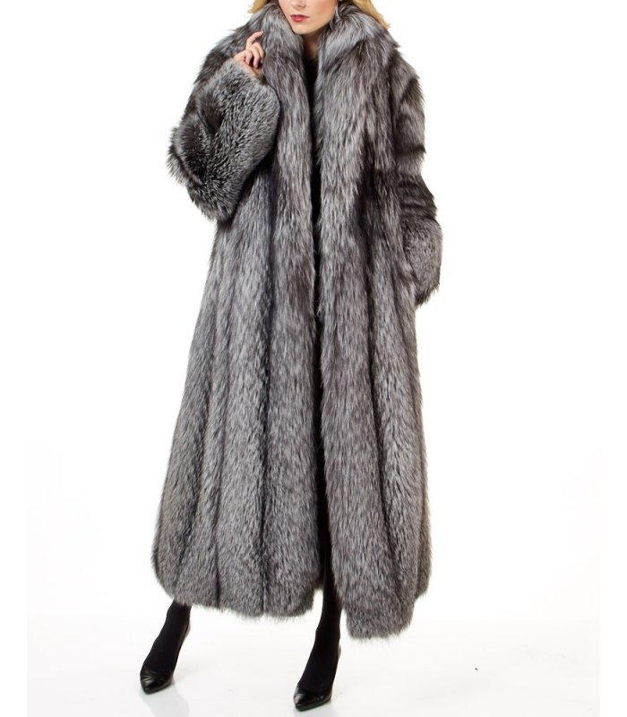 Women S Full Length Silver Fox Fur Coat, How Much Does It Cost To Get A Fur Coat Cleaned
