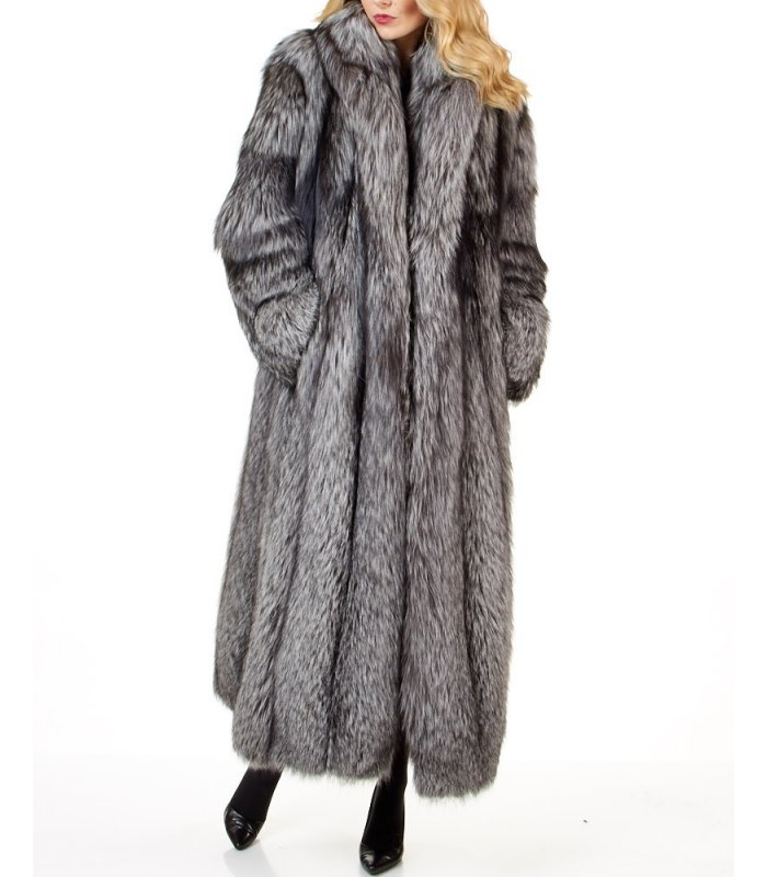 Women S Full Length Silver Fox Fur Coat, White Fox Fur Coat Cost