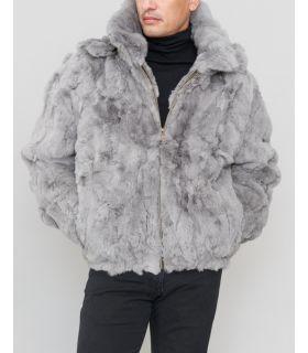 Rabbit Fur Hooded Bomber Jacket in Grey