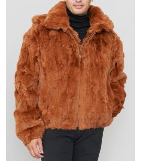 Rabbit Fur Hooded Bomber Jacket Whiskey
