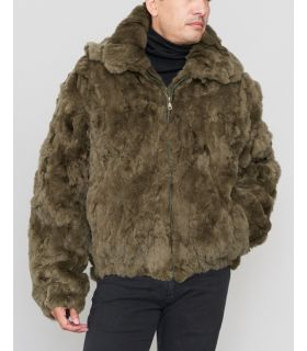 Rabbit Fur Hooded Bomber Jacket in Olive