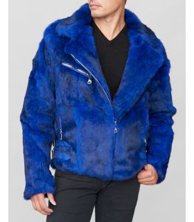 Rabbit Fur Biker Jacket in Blue