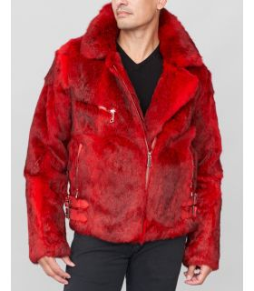 Rabbit Fur Biker Jacket in Red