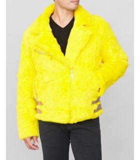 Rabbit Fur Biker Jacket in Yellow