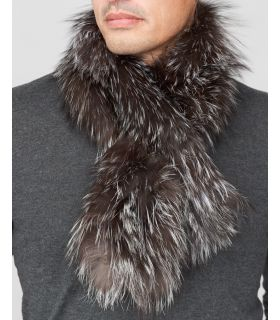 Silver Indigo Fluffy Fox Fur Knit Pull-Thru Scarf for Men