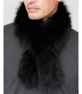 Black Fluffy Fox Fur Knit Pull-Thru Scarf for Men