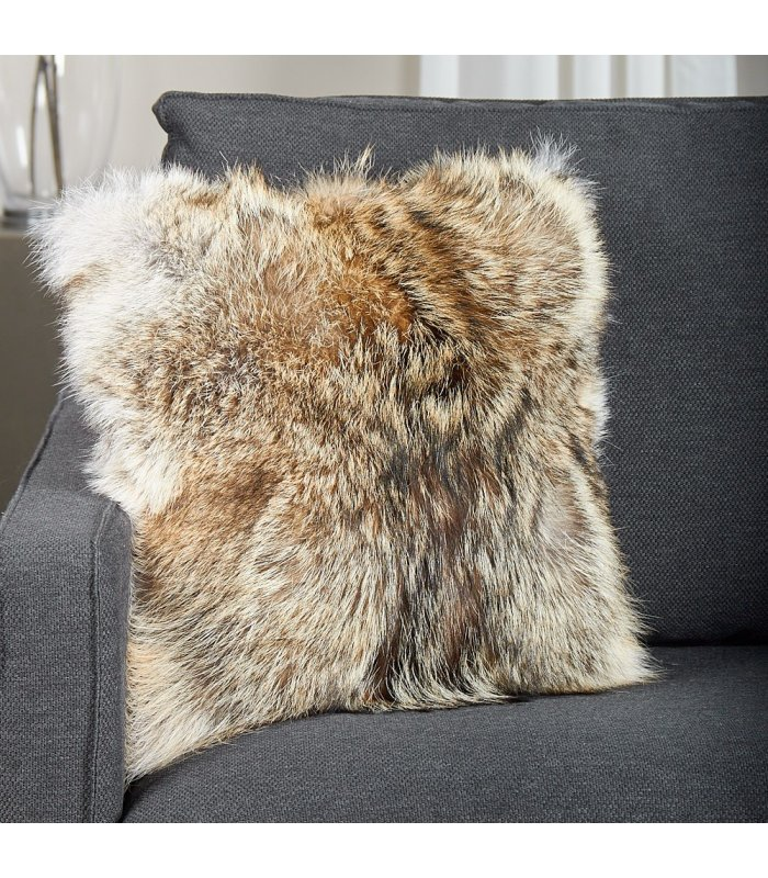 Real Coyote Sections Fur Pillow Sheared and dyed multicolor  new made in usa genuine authentic fur cushion