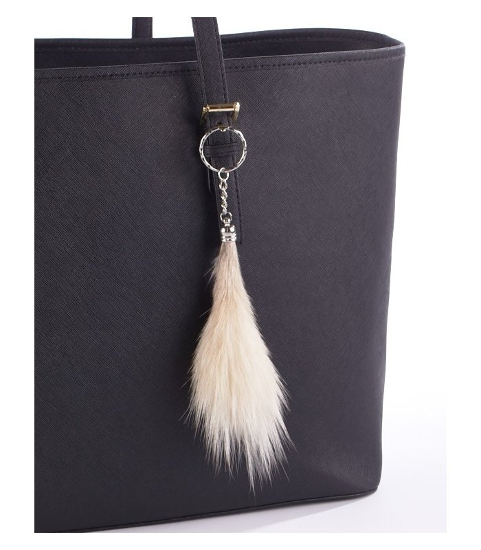 Natural Coyote  tail keychain